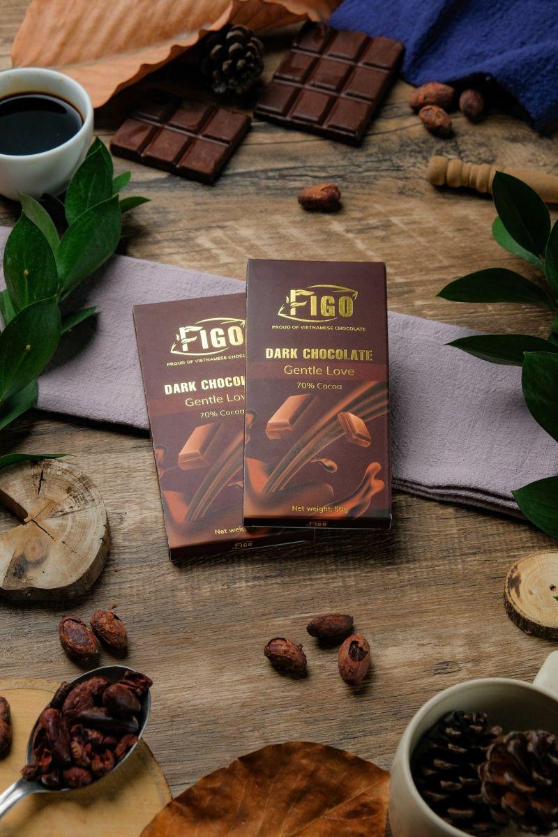 (Bar 100g) Socola đen 70% cacao 100g Figo - Kẹo Socola Thương hiệu Việt Nam