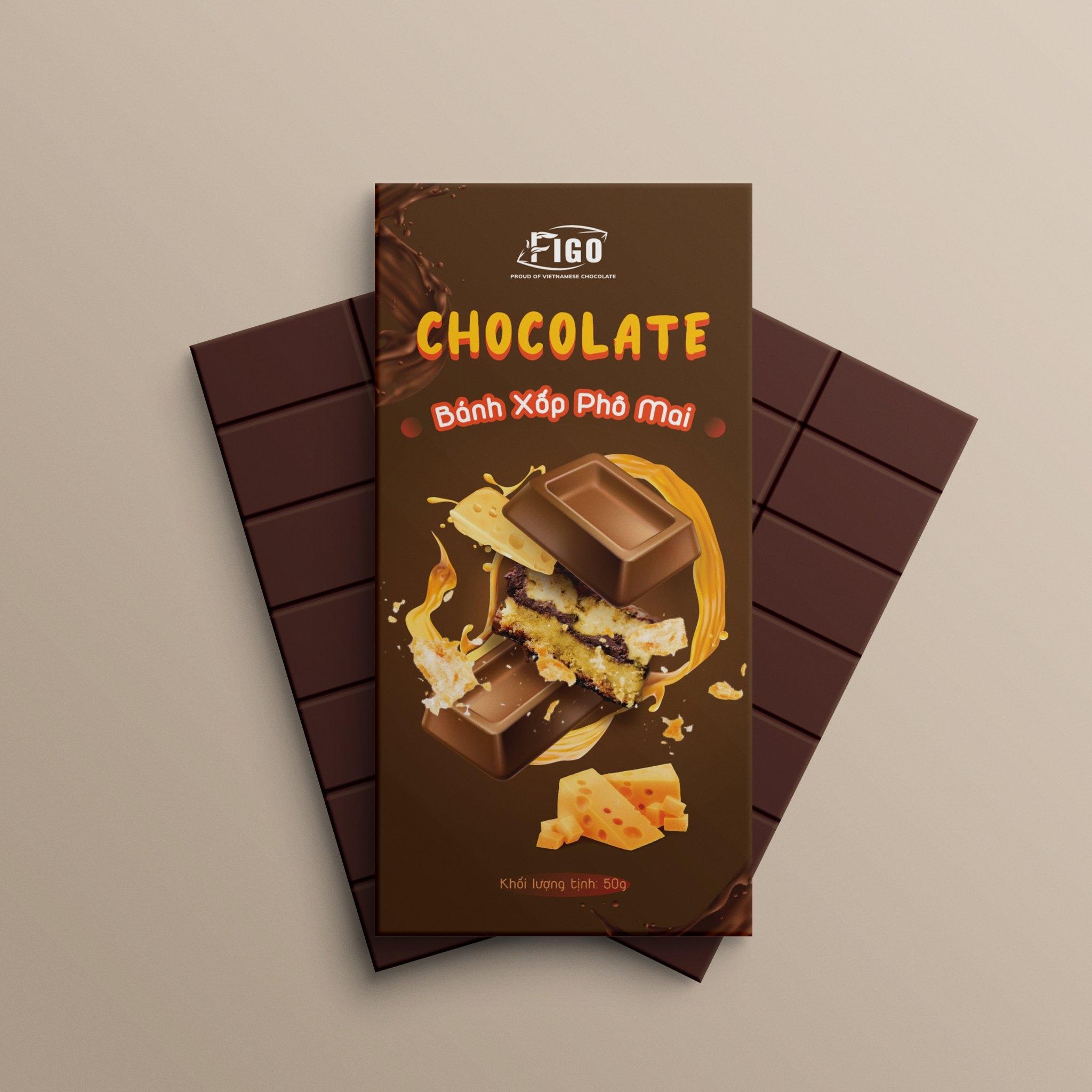(Bar 50g) Kẹo Socola sữa nhân bánh xốp phô mai 50g Figo - Đồ ăn vặt văn phòng siêu ngon