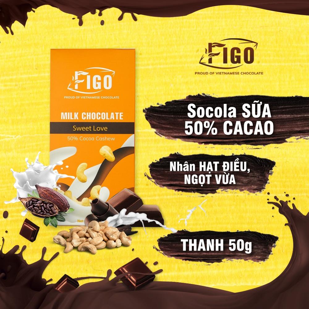 Kẹo socola sữa nhân Hạt điều dòng Sweet love 50g Figo