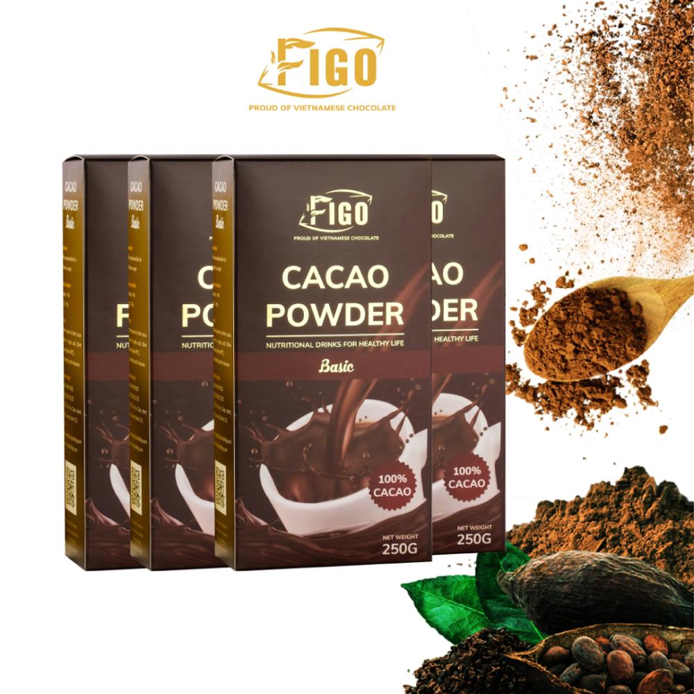 (1kg)Bột cacao nguyên chất không đường dòng basic Figo