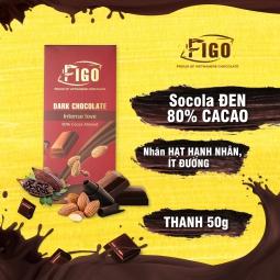 Kẹo Sô cô la đen 80% cacao Hạnh Nhân dòng Intense Love 50g Figo - Vietnamese Chocolate