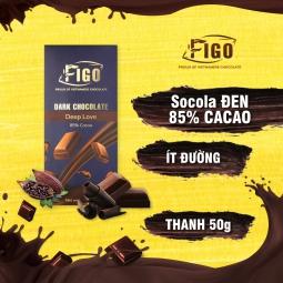 Kẹo Socola đen 85% cacao ít đường dòng Deep Love 50g Figo - Vietnamese Chocolate