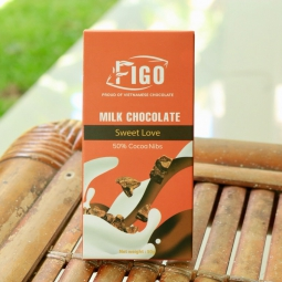 Kẹo Socola sữa nhân Hạt cacao Nibs dòng Sweet Love 50g Figo